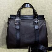 """Женская кожаная сумка """"Анастасия"""" черно-коричневая"""