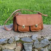 """Женская кожаная сумка на плечо """"Эсмеральда"""" орехового цвета"""