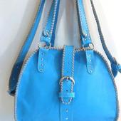 """Женская кожаная сумка """"Элис"""" с оплеткой голубая"""