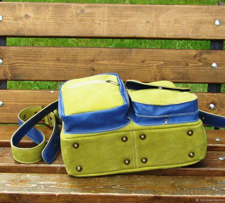 """Женская кожаная сумка """"Ноктюрн"""" оливковая с голубым ручной работы на заказ"""