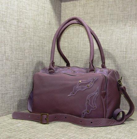 """Женская кожаная сумка """"Астарта"""" сиреневая ручной работы на заказ"""