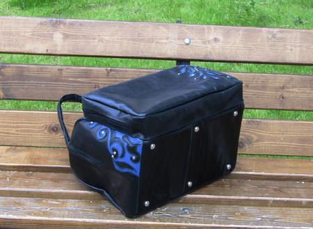 """Женская кожаная сумка """"Астарта"""" черно-синяя ручной работы на заказ"""