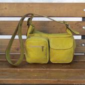 Женская кожаная сумка на плечо НОКТЮРН mini оливковая
