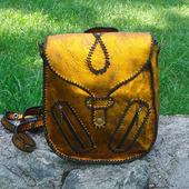 Женский молодежный кожаный рюкзачок MАРПЕССА винтажный с оплеткой