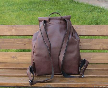 """Мужской кожаный рюкзак """"Манахан"""" коричневый ручной работы на заказ"""