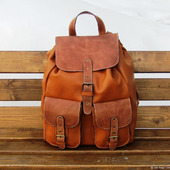 Мужской кожаный рюкзак Манахан рыжий