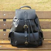 """Кожаный молодежный рюкзак """"Аврора"""" черный"""