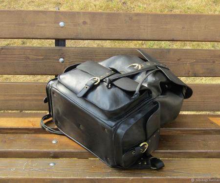 """Кожаный молодежный рюкзак """"Аврора"""" черный ручной работы на заказ"""