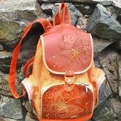 """Молодежный кожаный рюкзак с вышивкой """"Бабочка"""" рыжий"""