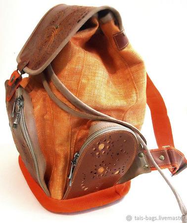 """Молодежный кожаный рюкзак с вышивкой """"Бабочка"""" рыжий ручной работы на заказ"""