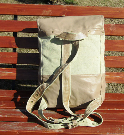 """Рюкзак мужской из натуральной кожи и льняного текстиля """"Магеллан"""" ручной работы на заказ"""