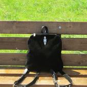 """Молодежный рюкзак из натуральной кожи и замши """"Юнона"""" черный"""
