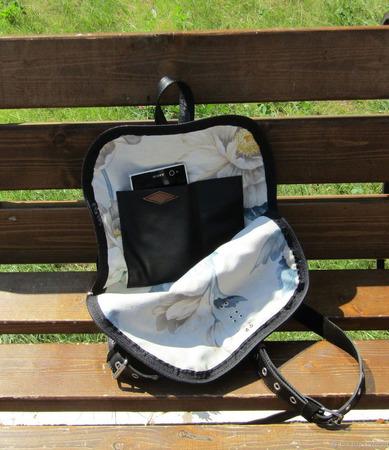 """Молодежный рюкзак из натуральной кожи и замши """"Юнона"""" черный ручной работы на заказ"""