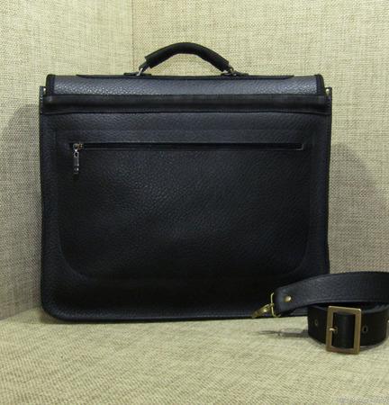 """Мужской кожаный портфель """"Ричард"""" черный ручной работы на заказ"""