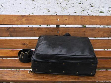 """Мужская кожаная деловая сумка """"Ганимед"""" maxi черный хром ручной работы на заказ"""