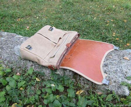 """Мужская кожаная сумка мессенджер """"Гектор"""" песочно-рыжая ручной работы на заказ"""