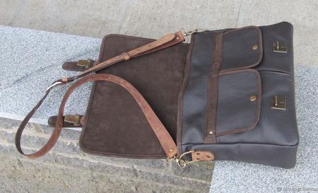 """Мужская кожаная сумка """"Астерион"""" орехово-шоколадного цвета ручной работы на заказ"""