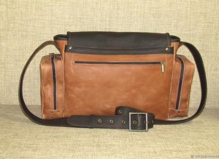 """Мужская кожаная сумка мессенджер """"Сафари"""" орехово-шоколадного цвета ручной работы на заказ"""