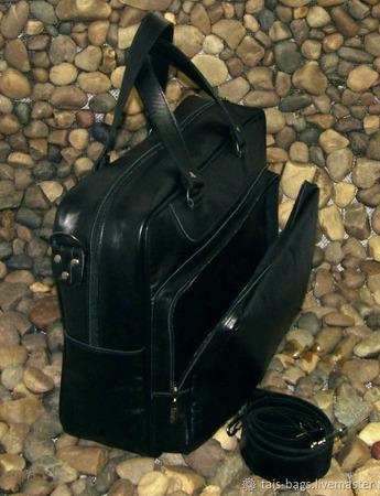 """Мужская кожаная деловая сумка """"Ганимед"""" ручной работы на заказ"""