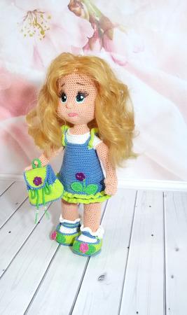 Вязаная кукла Фиалка ручной работы на заказ