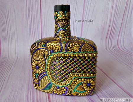 """Бутылка """"Мехенди"""" точечная роспись ручной работы на заказ"""