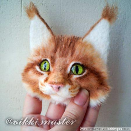 Брошь с котом Мейн-кун ручной работы на заказ