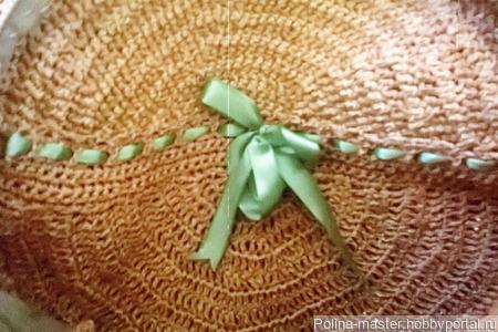 Круглая сумка из раффии ручной работы на заказ