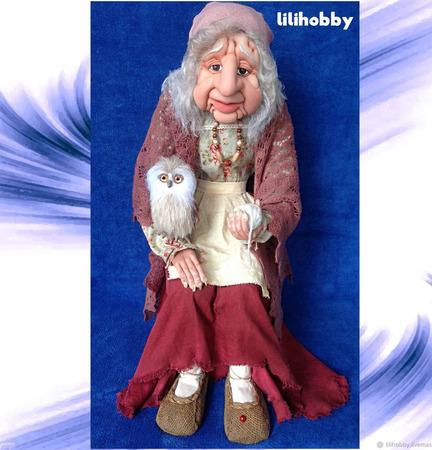 Кукла Баба Яга с Совушкой и путеводным клубочком ручной работы на заказ