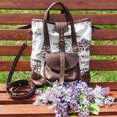 """Женская сумка из текстиля и натуральной кожи """"Марта"""" вояж"""