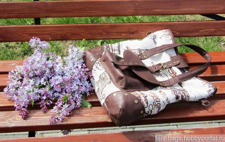 """Женская сумка из текстиля и натуральной кожи """"Марта"""" вояж ручной работы на заказ"""