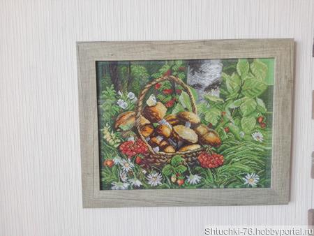 """Картина """"Корзинка с грибами"""" ручной работы на заказ"""