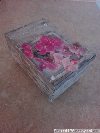 "Шкатулка ""Орхидея"" ручной работы на заказ"