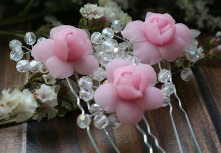 Шпильки для волос с розами и веточками из бусин ручной работы на заказ