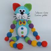 Кот Кругляш синий с бусинами - игрушка, вязанная крючком