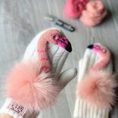 Звероварежки с розовым фламинго