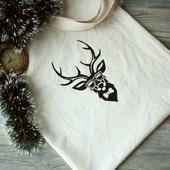 Льняная сумка-шоппер с оленем