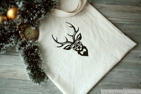 Льняная сумка-шоппер с оленем ручной работы на заказ