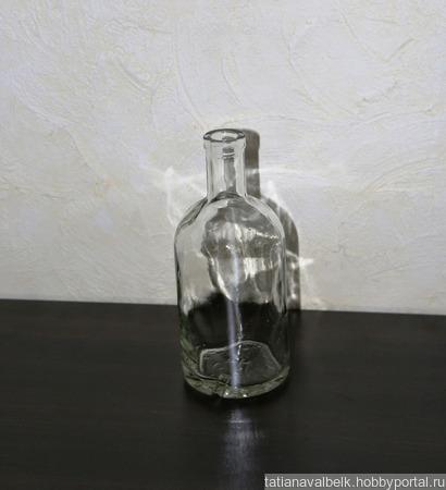 Бутылка стеклянная прозрачная маленькая ручной работы на заказ