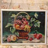 Алмазная мозайка: Натюрморт с фруктами в корзинке