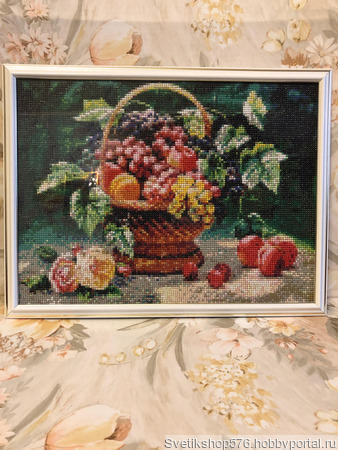 Алмазная мозайка: Натюрморт с фруктами в корзинке ручной работы на заказ