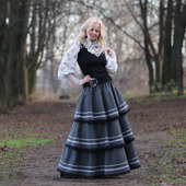 Шерстяная юбка в стиле бохо на зиму