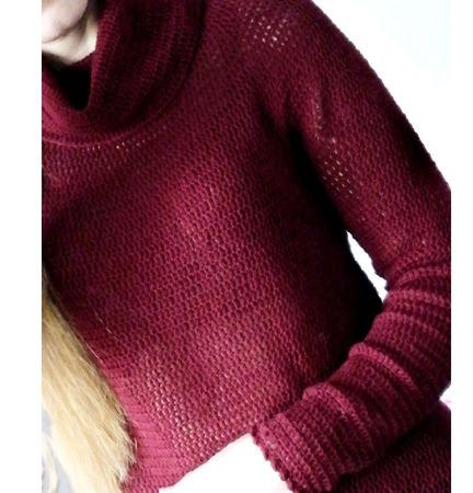 Бордовый свитер из 100% мериносовой шерсти ручной работы на заказ