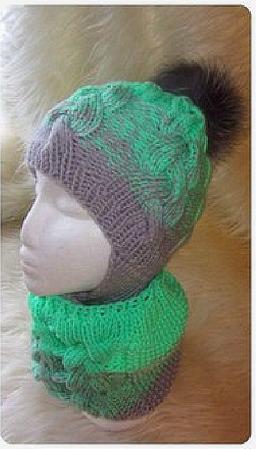 Комплект детский - шапка с завязками и снуд ручной работы на заказ