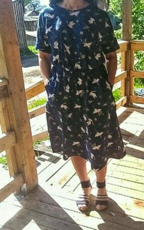 """Платье миди с карманами """"Журавли-2"""" ручной работы на заказ"""