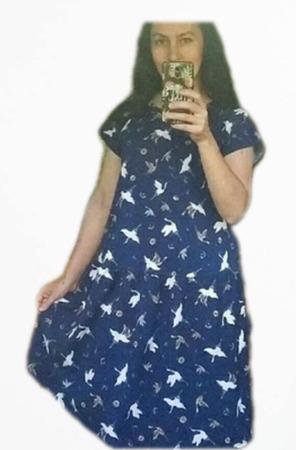 """Платье с поясом """"Журавли на синем"""" ручной работы на заказ"""