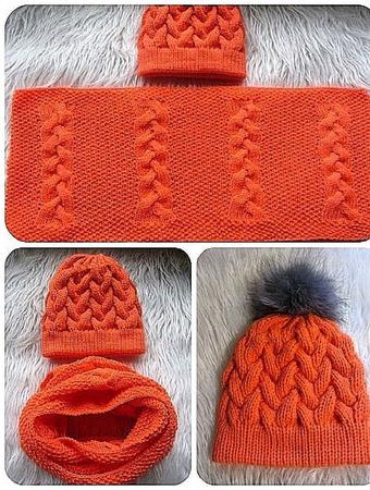 Комплект шапка с косами и снуд в 2 оборота ручной работы на заказ