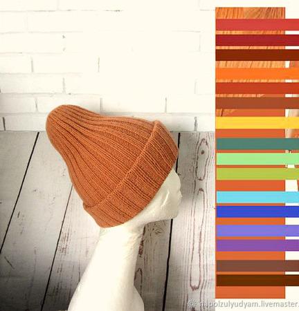 Шапка-тыковка из 100% мериноса ручной работы на заказ