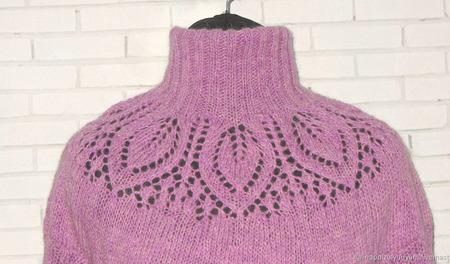 Шерстяное вязаное платье-свитер ручной работы на заказ