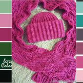 """Теплая шапка и шарф """"Брусника"""""""