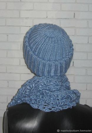 Комплект шапка бини и бактус ручной работы на заказ